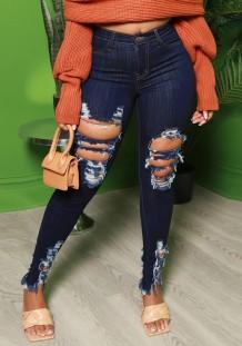 Summer Blue Denim Jeans mit hoher Taille und gerippter Passform
