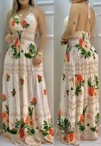 Vestido maxi largo de cintura alta floral con espalda baja de verano