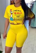 Летний повседневный принт желтая свободная рубашка и шорты, комплект из 2 предметов
