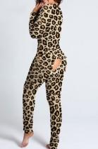 Mono de salón sexy de manga larga con estampado de leopardo y colillas de parche