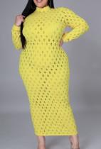 Vestido midi de manga larga sexy ahuecado amarillo de talla grande