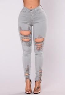 Summer Grey Denim Jeans mit hoher Taille und gerippter Passform