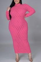 Vestido a media pierna de manga larga sexy rosa ahuecado de talla grande
