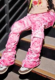 Summer Tie Dye pantalones deportivos rosas con bolsillo