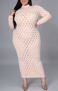 Plus Size Hollow Out Sexy Long Sleeve Midi Dress