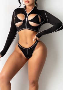 Summer Black Hollow Out Two Piece Long Sleeve Swimwear