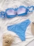 Слитные синие купальники без бретелек с оборками