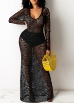 Summer Black Fishnet Langarm Long Beach Kleid