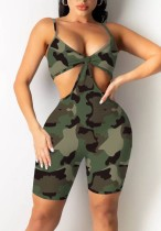 Summer Sexy Hollow Out Strap Camou Bodycon Rompers