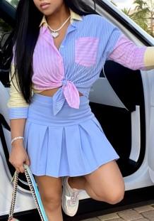 Повседневная синяя блузка с длинным рукавом в полоску и плиссированная мини-юбка в комплекте из 2 предметов