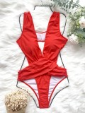 Sexy One-Piece High Cut Deep-V Red Swimwear