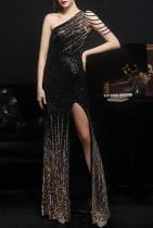 Lentejuelas ocasionales de verano Vestido de noche largo de un hombro con abertura lateral negra