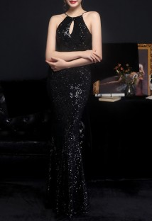 Summer Occassional Sequins Black Halter Mermaid Long Evening Dress
