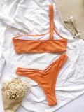 Costume da bagno monospalla arancione in due pezzi
