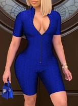 Summer Blue Front Zip Up Waffle Sexy Bodycon Rompers