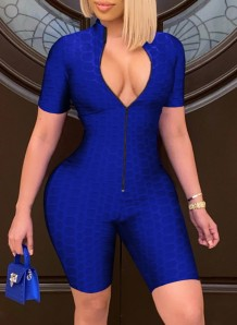Summer Blue Front Zip Up Waffel Sexy Bodycon Strampler