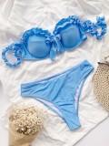 Two-Piece Blue Strapless Ruffles Swimwear