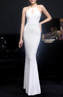 Summer Occassional Sequins White Halter Mermaid Long Evening Dress