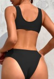 Сексуальные сплошные черные купальники с высоким вырезом и глубоким V-образным вырезом
