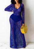 Sommer Blue Fishnet Langarm Long Beach Kleid