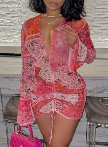Party Print Pink Sexy Deep-V Ruched Strings Mini Dress