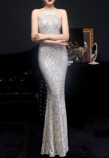 Summer Occassional Sequins Silver Halter Mermaid Long Evening Dress