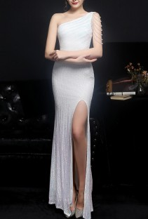 Summer Occassional Sequins White Side Slit One Shoulder Long Evening Dress