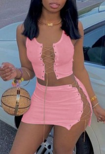 Summer Pink Lace-Up Crop Top and Mini Skirt 2 Piece Matching Set