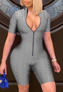 Summer Grey Front Zip Up Waffle Sexy Bodycon Rompers
