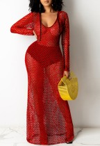 Sommer Red Fishnet Langarm Long Beach Kleid