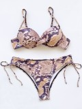 Sexy Two-Piece Snake Skin Strings Swimwear