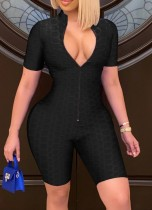 Summer Black Front Zip Up Waffle Sexy Bodycon Rompers