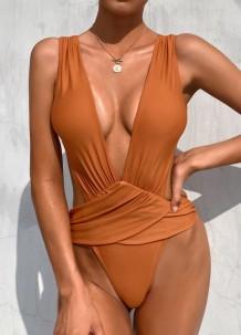 Sexy einteilige High Cut Deep-V Nude Badebekleidung