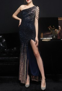 Summer Occassional Sequins Blue Side Slit One Shoulder Long Evening Dress