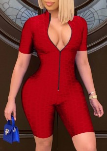Summer Red Front Zip Up Waffle Sexy Bodycon Rompers