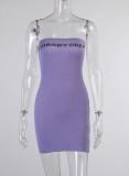 Yaz Mor Mektubu Baskı Seksi Tüp Mini Elbise