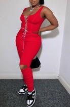 Top corto estivo rosso sexy con lacci e pantaloni strappati impilati 2 pezzi coordinati