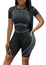 Zomersporten Zwart Fit Shirt en Biker Shorts 2-delige Bijpassende Set