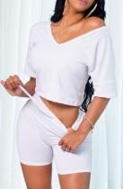 Sommer lässiges weißes Hemd mit V-Ausschnitt und Biker-Shorts 2PC Matching Set