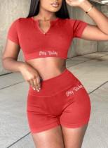 Sommer Casual Print Red Crop Top und High Waist Biker Shorts 2PC Matching Set