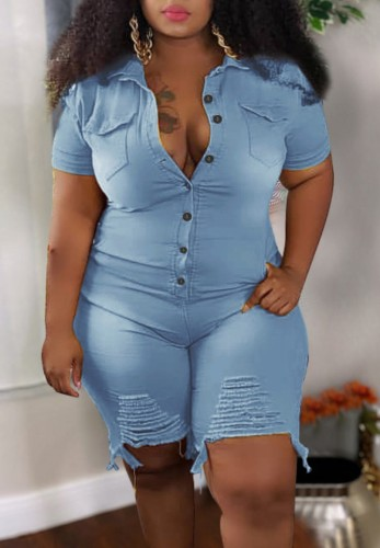 Plus Size Summer Blue Buttom Up Ripped Denim Rompers