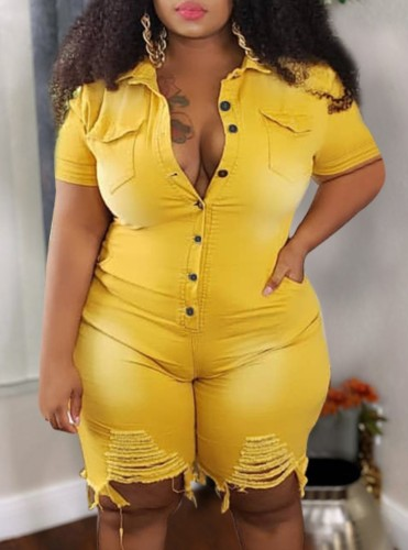 Plus Size Summer Yellow Buttom Up Ripped Denim Rompers