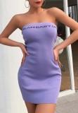 Summer Purple Letter Print Sexy Tube Mini Dress