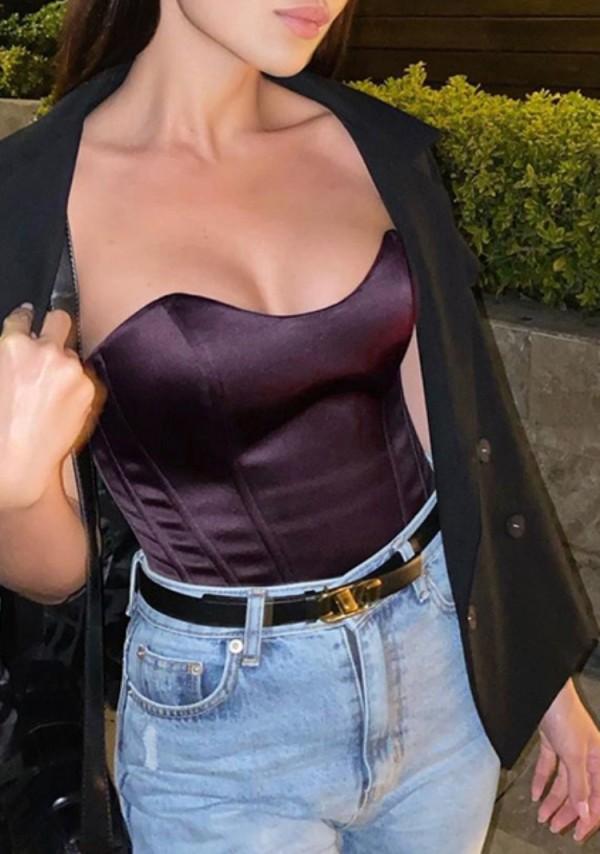 Top Busiter senza spalline vintage viola scuro estivo