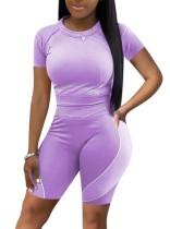 Zomersporten paars fit overhemd en bikershort 2-delige bijpassende set