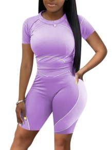 Summer Sports Purple Fit Shirt y Biker Shorts Conjunto a juego de 2 piezas