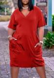 Sommer Lässiges rotes Hemdkleid mit rotem V-Ausschnitt