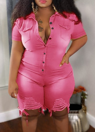 Plus Size Summer Pink Buttom Up Ripped Denim Rompers
