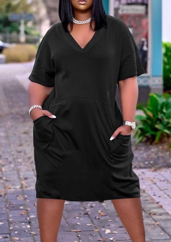 Sommer lässiges schwarzes lockeres Hemdkleid mit V-Ausschnitt