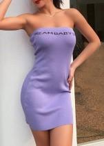Mini vestido de tubo sexy con estampado de letras moradas de verano